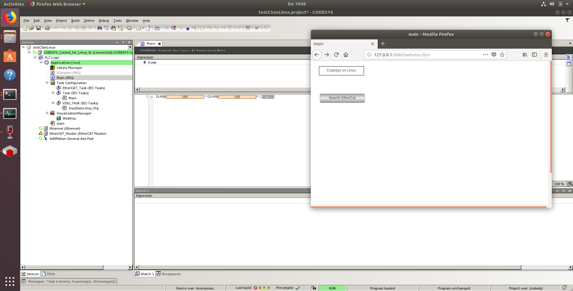 Codesys IDE and PLC on Linux with Webvisu