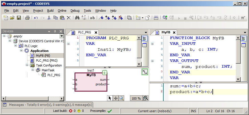 How to call a function block from within CFC - CODESYS - the