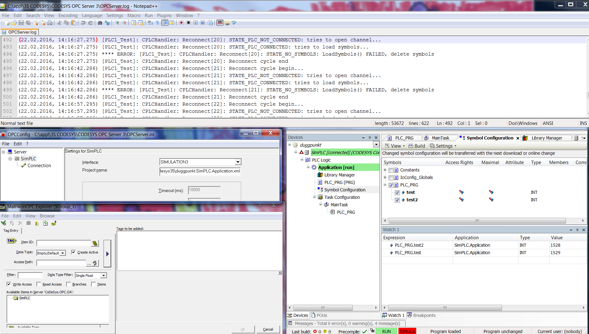 CoDeSys OPC server with SIMULATION3 interface - CODESYS