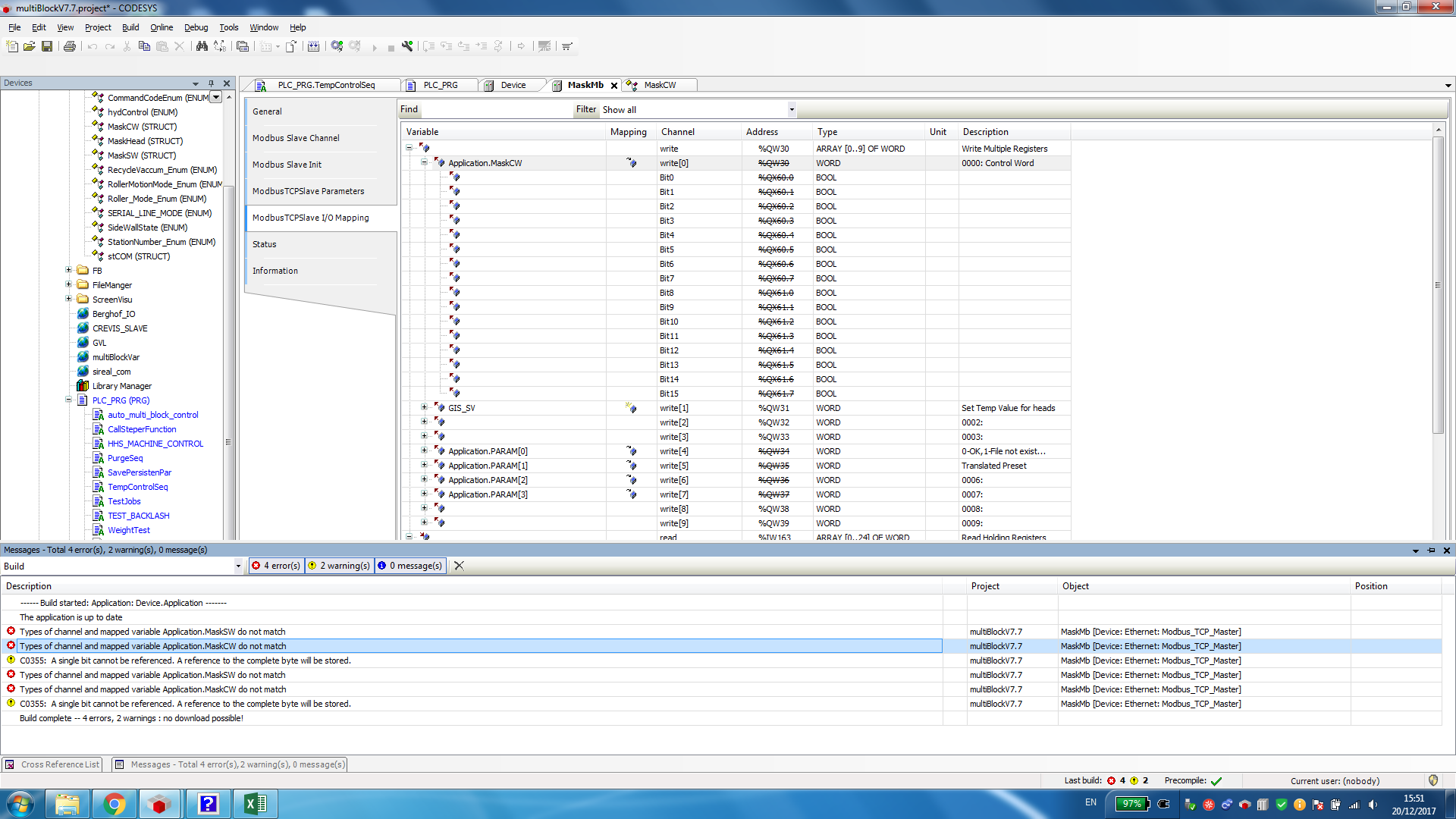 Setting a struct data type in ModbusTCP mapping IO - CODESYS - the